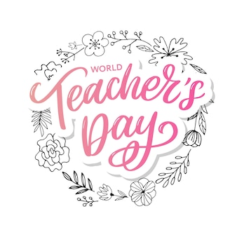 Inscrição do dia do professor feliz. letras de mão desenhada.