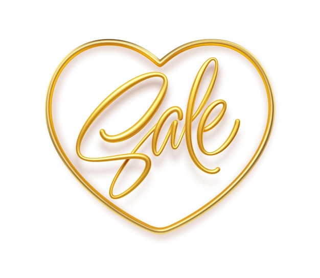 Inscrição dourada realista venda em uma moldura de forma de coração.