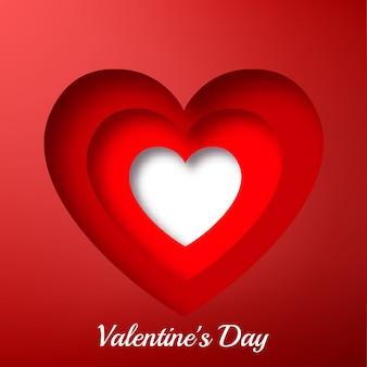 Inscrição elegante com corações românticos brilhantes recortados em ilustração vermelha