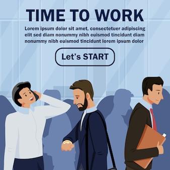 Inscrição informativa do folheto tempo para trabalhar