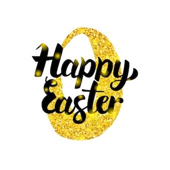 Inscrição manuscrita de feliz páscoa. ilustração em vetor de cartão postal de saudação de férias de primavera com caligrafia.