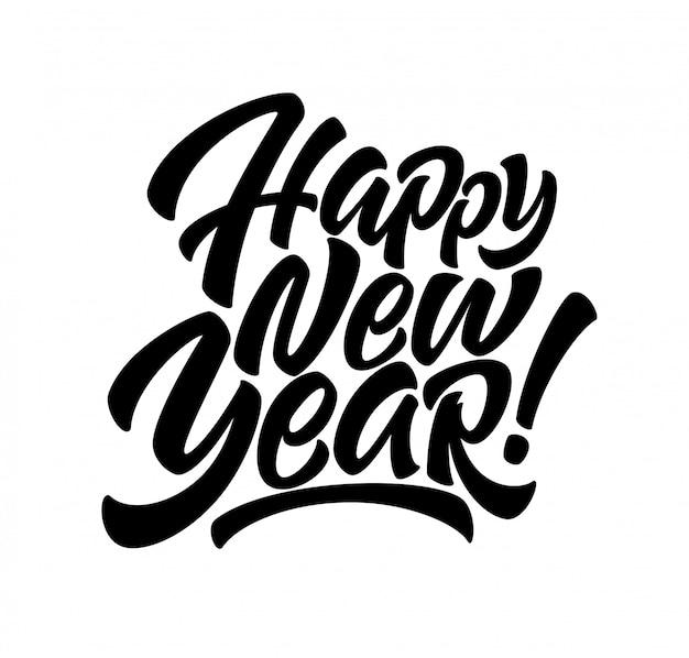 Inscrição manuscrita feliz ano novo.