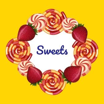 Inscrição no centro em torno de doces em amarelo
