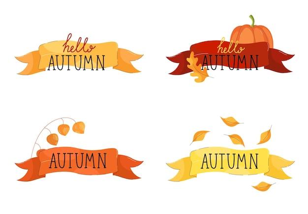 Inscrição olá outono em uma fita com flores e folhas de outono