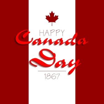Inscrição tipográfica feliz dia do canadá. ilustração vetorial