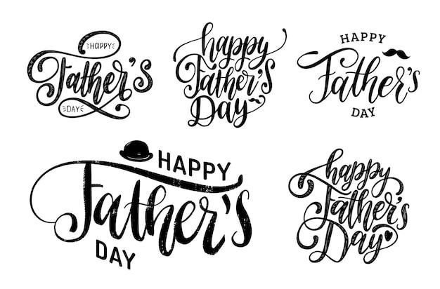 Inscrições caligráficas de vetor feliz dia dos pais definidas para cartão de felicitações, cartaz festivo etc.