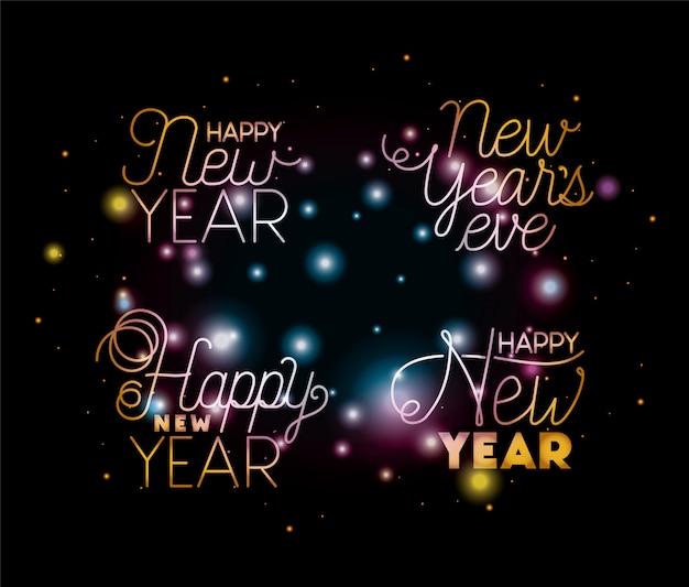 Inscrições de feliz ano novo conjunto com luzes