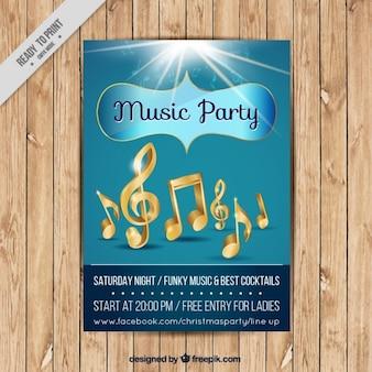 Insecto do partido musical com notas musicais douradas