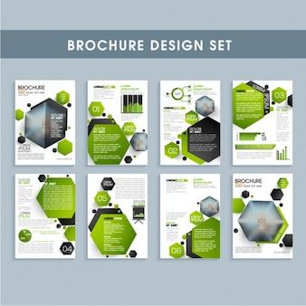 Insectos do negócio com formas geométricas verdes