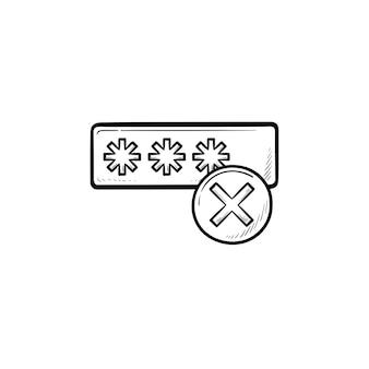 Inserindo o login e o ícone de esboço desenhado de mão de falha. acesso do usuário, segurança e conceito de login incorreto