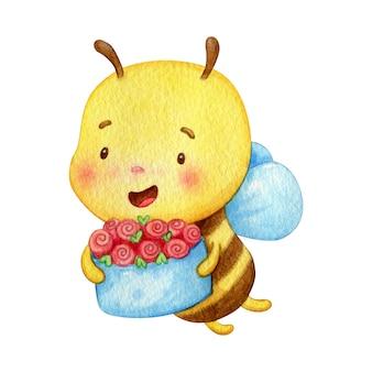 Inseto amarelo voa com um presente. abelha alegre mantém uma cesta cheia de flores.