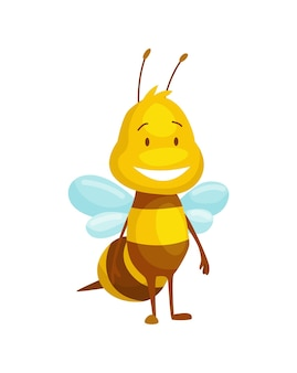 Inseto de abelha de desenho animado. personagem de ilustração de mosca feliz. personagem de colheitadeira de mel fofo para crianças. animal sorridente.