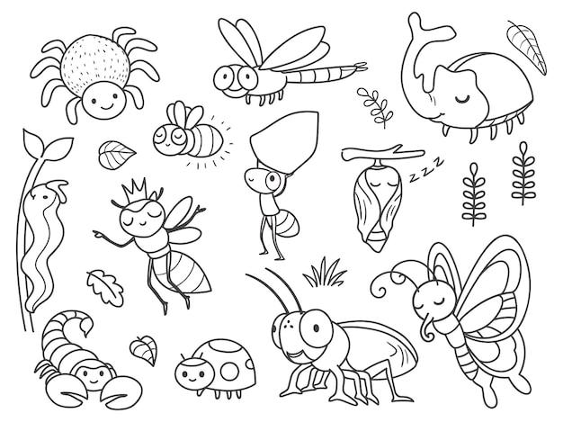 Inseto doodle desenhado à mão
