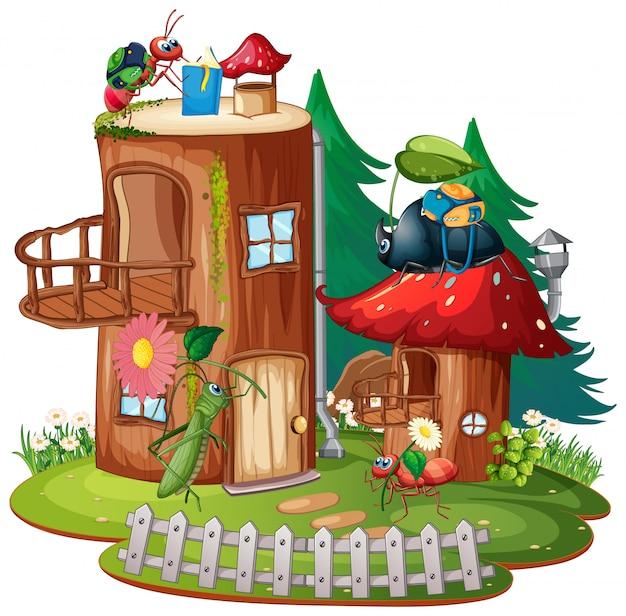 Inseto feliz em sua casa de fantasia