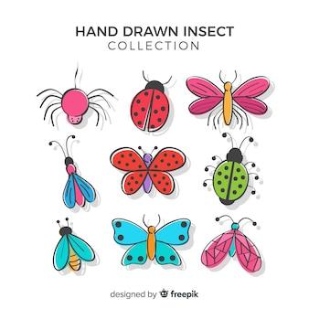 Insetos coloridos desenhados mão embalar
