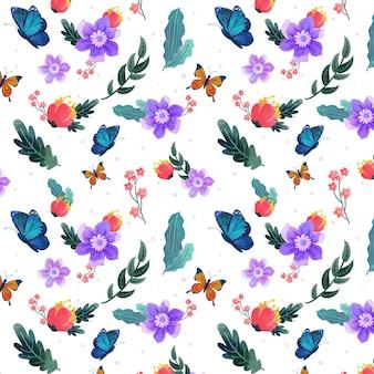 Insetos criativos e padrão de flores
