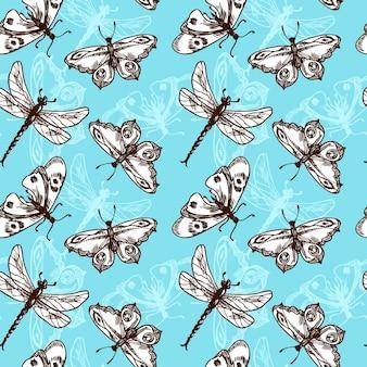 Insetos de borboletas e libélulas esboço azul ilustração vetorial padrão sem costura