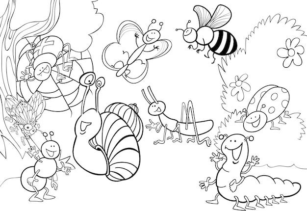 Insetos de desenhos animados no prado para colorir
