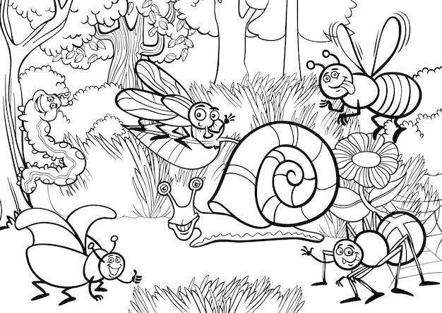 Insetos de desenhos animados para livro para colorir