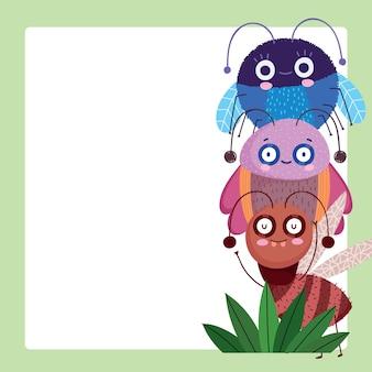 Insetos engraçados, criaturas, animais, desenhos animados, ilustração, banner, modelo, design
