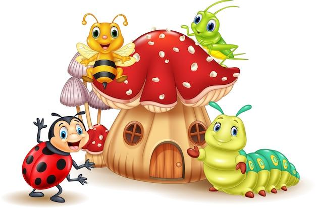 Insetos engraçados dos desenhos animados com casa de cogumelo