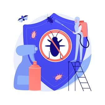 Insetos-praga em casa controlam a ilustração em vetor conceito abstrato. controle de insetos pragas, serviço de exterminador de vermes, equipamento de tripes de insetos, solução diy, metáfora abstrata de proteção de jardim doméstico.