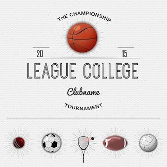 Insígnia da faculdade da liga e esportes dos rótulos