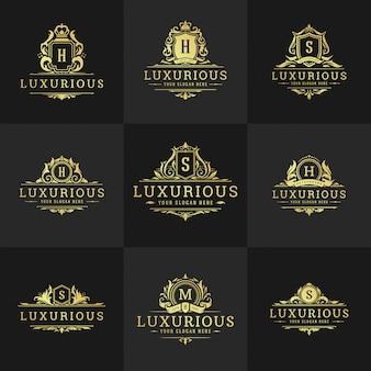Insígnia de luxo vintage com logotipo de monograma