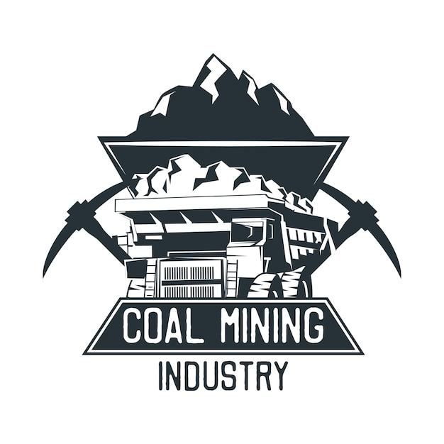 Insígnia de mineração de carvão. ilustração vetorial