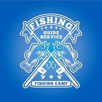 Insígnia de pesca ou logotipo para o campo de pesca