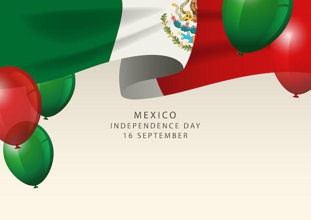 Insígnia do méxico com balões decorativos, cartão do feliz dia da independência do méxico