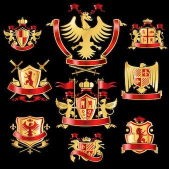 Insígnia heráldica conjunto ouro e cor vermelha
