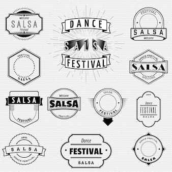 Insígnias de emblemas de salsa de festival de dança e rótulos para qualquer uso