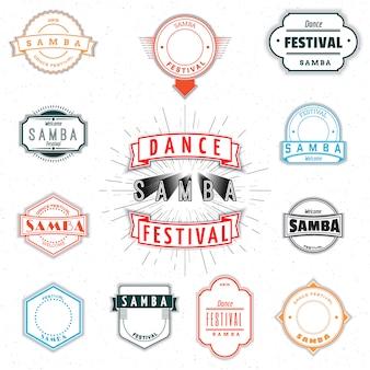 Insígnias e emblemas de insígnias de samba do festival de dança para qualquer uso