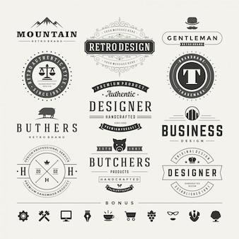 Insígnias vintage retrô ou logotipos definir elementos de design do vetor