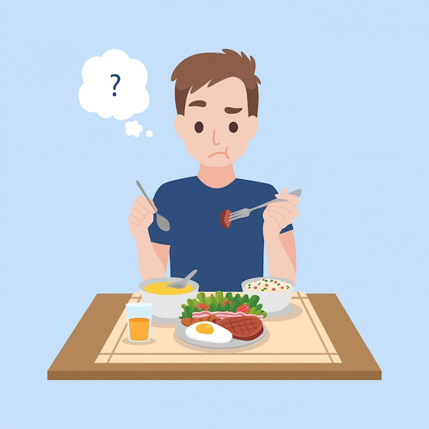 Insípido, um homem virado que come comida insípida do vírus da coroa