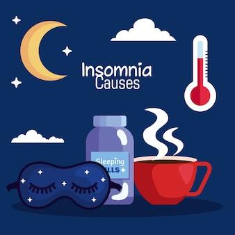 Insônia causa frasco de pílulas de máscara e design de copo de cafeína, tema de sono e noite