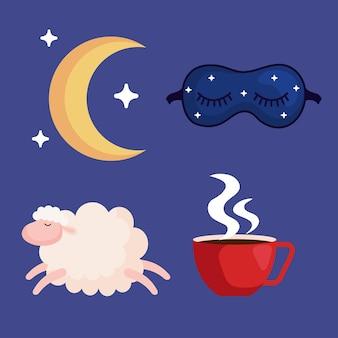 Insônia, máscara lunar, ovelha e xícara de cafeína, tema de sono e noite