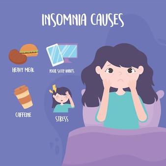 Insônia, menina com bolsas nos olhos e causa distúrbio, estresse, refeição pesada, cafeína e ilustração vetorial de maus hábitos de sono