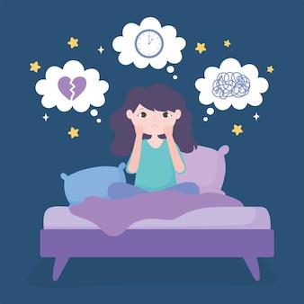 Insônia, menina na cama com ilustração vetorial de ansiedade e depressão