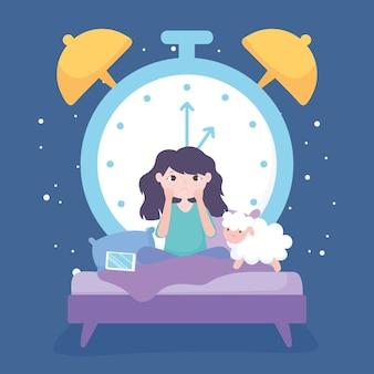 Insônia, menina triste na cama com ovelhas móveis e grande relógio