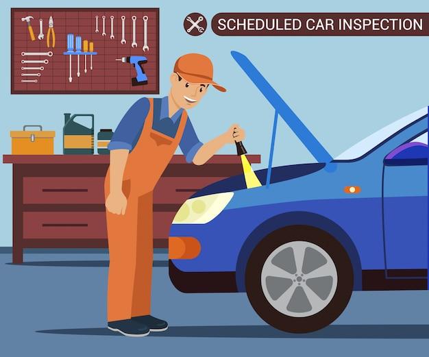 Inspeção de carro agendada. diagnóstico de carro.