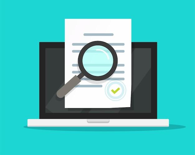 Inspeção de documentos de conformidade online, revisão de auditoria de termos de declaração em computador laptop