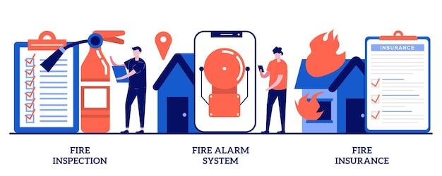 Inspeção de incêndio, sistema de alarme de incêndio, conceito de seguro contra incêndio com pessoas minúsculas