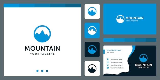 Inspiração da forma do logotipo da montanha com círculo. design de modelo de cartão de visita.