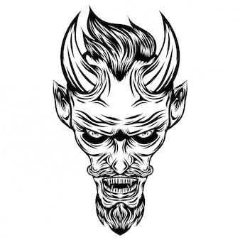 Inspiração da ilustração do diabo com olhos brilhantes