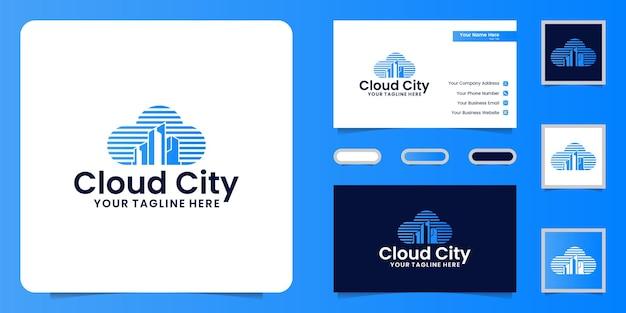 Inspiração de criação e design de logotipo em nuvem, design de cartões de visita e modelos