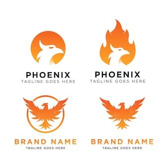 Inspiração de design de conjunto de logotipo de phoenix