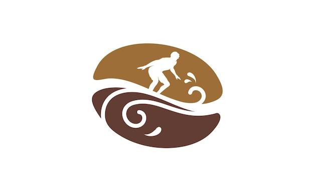 Inspiração de design de logotipo coffee bean e surfer