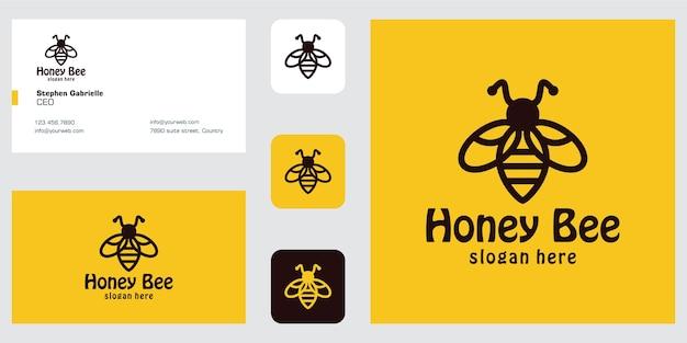 Inspiração de design de logotipo de abelha de arte de linha e cartão de visita